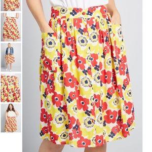 ModclothAct Accordingly Poppy Midi Skirt